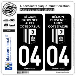 2 Autocollants plaque immatriculation Auto 04 Région Sud - LogoType Black