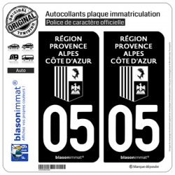 2 Autocollants plaque immatriculation Auto 05 Région Sud - LogoType Black