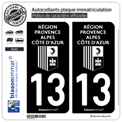 2 Autocollants plaque immatriculation Auto 13 Région Sud - LogoType Black
