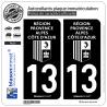 2 Autocollants plaque immatriculation Auto 13 Région Sud - LogoType Black
