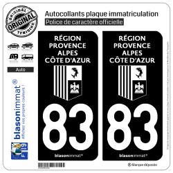 2 Autocollants plaque immatriculation Auto 83 Région Sud - LogoType Black