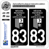 2 Autocollants plaque immatriculation Auto 83 Région Sud - LogoType Black