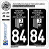 2 Autocollants plaque immatriculation Auto 84 Région Sud - LogoType Black