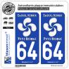 2 Autocollants plaque immatriculation Auto 64 Pays Basque - Lauburu White