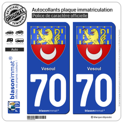 2 Autocollants plaque immatriculation Auto 70 Vesoul - Armoiries
