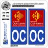 2 Autocollants plaque immatriculation Auto OC Occitanie - LogoType