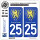 2 Autocollants plaque immatriculation Auto 25 Franche-Comté - Armoiries