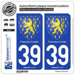 2 Autocollants plaque immatriculation Auto 39 Franche-Comté - Armoiries