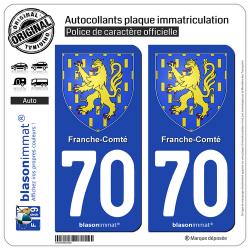 2 Autocollants plaque immatriculation Auto 70 Franche-Comté - Armoiries