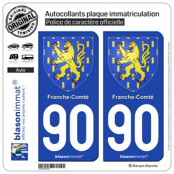 2 Autocollants plaque immatriculation Auto 90 Franche-Comté - Armoiries