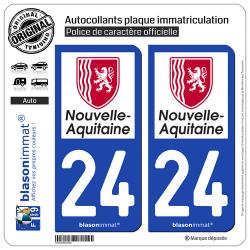 2 Autocollants plaque immatriculation Auto 24 Nouvelle-Aquitaine - Région