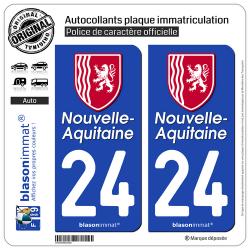 2 Autocollants plaque immatriculation Auto 24 Nouvelle-Aquitaine - Région II