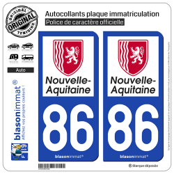 2 Autocollants plaque immatriculation Auto 86 Nouvelle-Aquitaine - Région