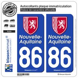 2 Autocollants plaque immatriculation Auto 86 Nouvelle-Aquitaine - Région II