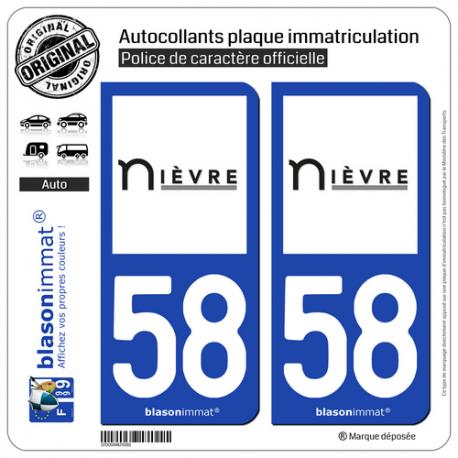 2 Autocollants plaque immatriculation Auto 58 Nièvre - Département