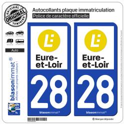 2 Autocollants plaque immatriculation Auto 28 Eure-et-Loir - Département