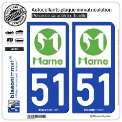 2 Autocollants plaque immatriculation Auto 51 Marne - Département