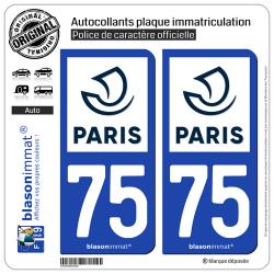 2 Autocollants plaque immatriculation Auto 75 Paris - Ville