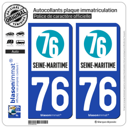 2 Autocollants plaque immatriculation Auto 76 Seine-Maritime - Département