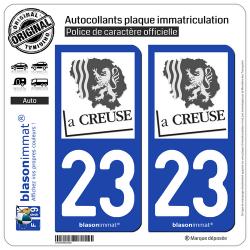 2 Autocollants plaque immatriculation Auto 23 Creuse - Département
