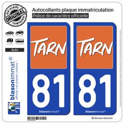 2 Autocollants plaque immatriculation Auto 81 Tarn - Département