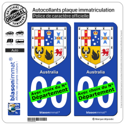 2 Autocollants plaque immatriculation Auto : Australie - Armoiries