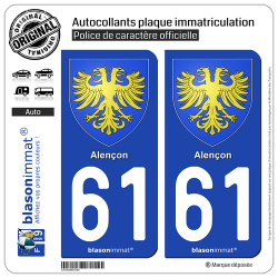 2 Autocollants plaque immatriculation Auto 61 Alençon - Armoiries