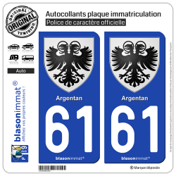 2 Autocollants plaque immatriculation Auto 61 Argentan - Armoiries
