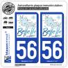 2 Autocollants de plaque d'immatriculation auto 56 Belle-Ile-en-Mer - Tourisme