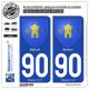 2 Autocollants plaque immatriculation Auto 90 Belfort - Armoiries