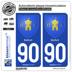 2 Autocollants plaque immatriculation Auto 90 Belfort - Armoiries