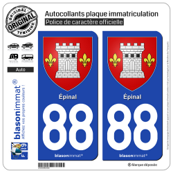 2 Autocollants plaque immatriculation Auto 88 Épinal - Armoiries