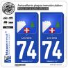 2 Autocollants plaque immatriculation Auto 74 Les Gets - Armoiries