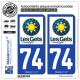 2 Autocollants plaque immatriculation Auto 74 Les Gets - Station