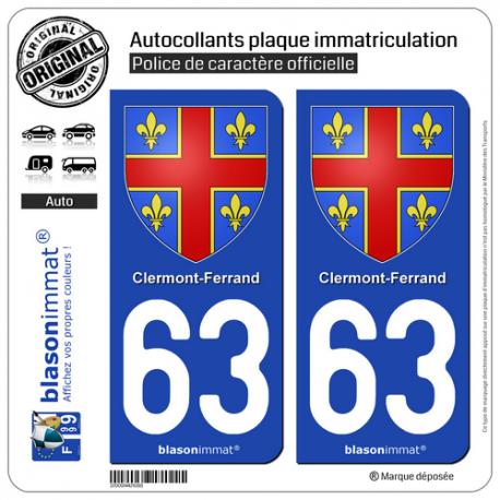 2 Autocollants plaque immatriculation Auto 63 Clermont-Ferrand - Armoiries