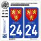 2 Autocollants plaque immatriculation Auto 24 Dordogne - Armoiries