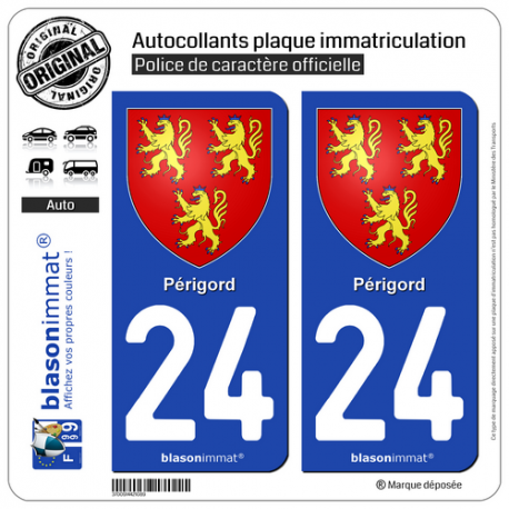 2 Autocollants plaque immatriculation Auto 24 Périgord - Armoiries