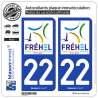 2 Autocollants plaque immatriculation Auto 22 Fréhel - Ville