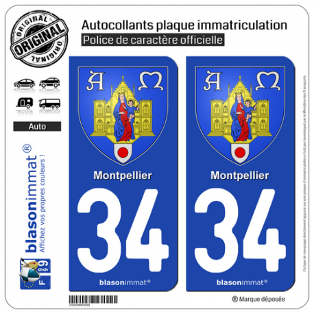 2 Autocollants plaque immatriculation Auto 34 Montpellier - Armoiries
