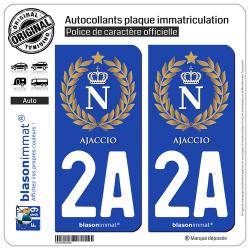 2 Autocollants plaque immatriculation Auto 2A Ajaccio - Ville impériale