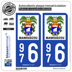 2 Autocollants plaque immatriculation Auto 976 Mamoudzou - Armoiries