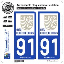 2 Autocollants plaque immatriculation Auto 91 Évry-Courcouronnes - Ville