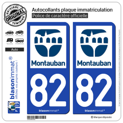 2 Autocollants plaque immatriculation Auto 82 Montauban - Ville