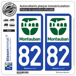 2 Autocollants plaque immatriculation Auto 82 Montauban - Tourisme