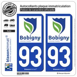 2 Autocollants plaque immatriculation Auto 93 Bobigny - Ville
