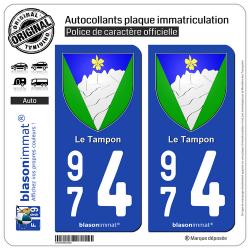 2 Autocollants plaque immatriculation Auto 974 Le Tampon - Armoiries