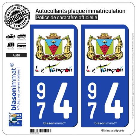 2 Autocollants plaque immatriculation Auto 974 Le Tampon - Ville