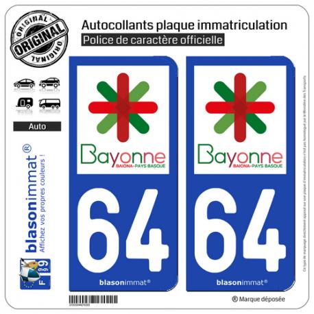 2 Autocollants plaque immatriculation Auto 64 Bayonne - Ville