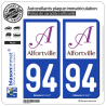 2 Autocollants plaque immatriculation Auto 94 Alfortville - Ville