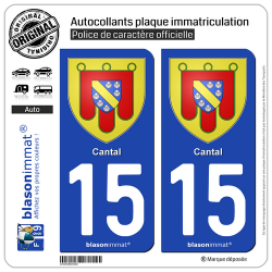 2 Autocollants plaque immatriculation Auto 15 Cantal - Armoiries